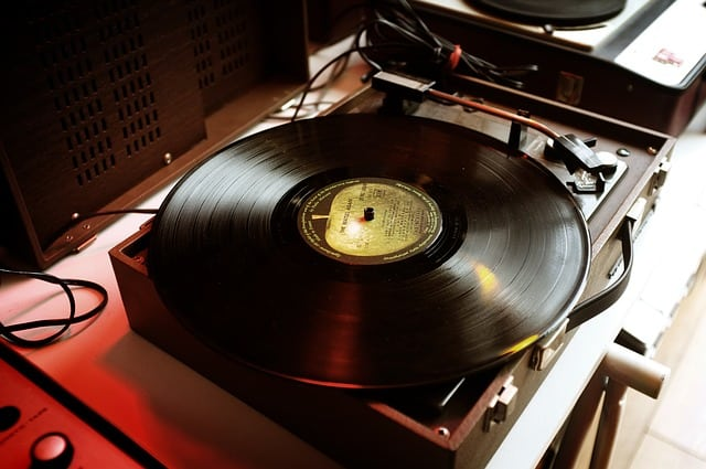 turntable record player in a studio
